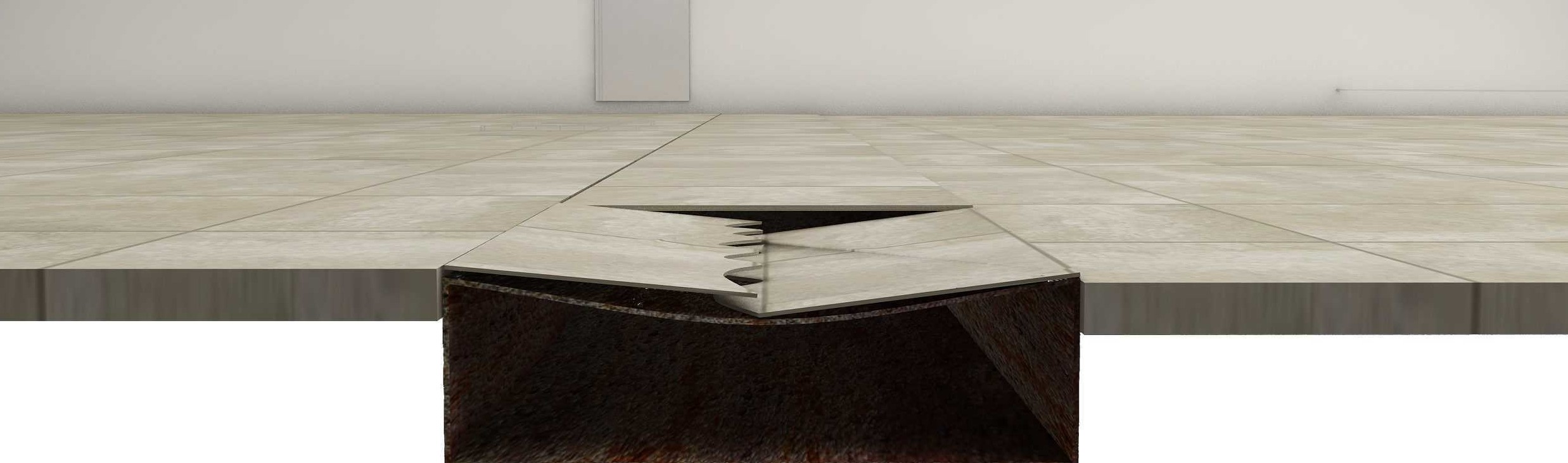 Floor tiles can break due to sagging of cable raceway lid due to loads