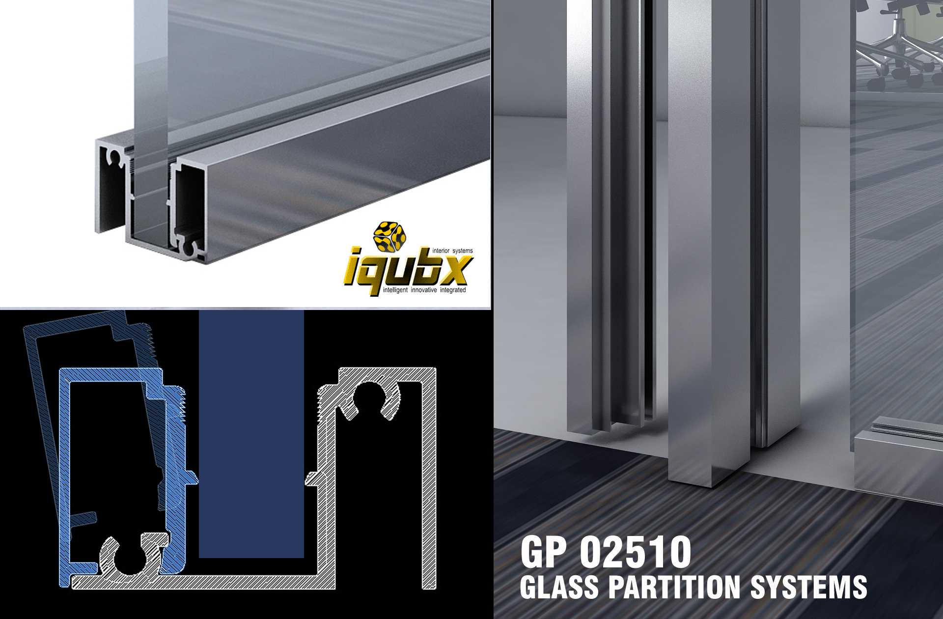 iqubx gp250 glass partition are modular and can be erected very easily to give elegant interiors