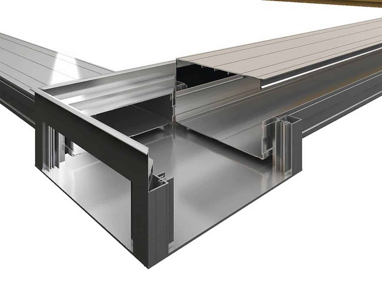 IQUBX floor junction box is made of three extruded aluminium profiles and can be fabricated or modified on site