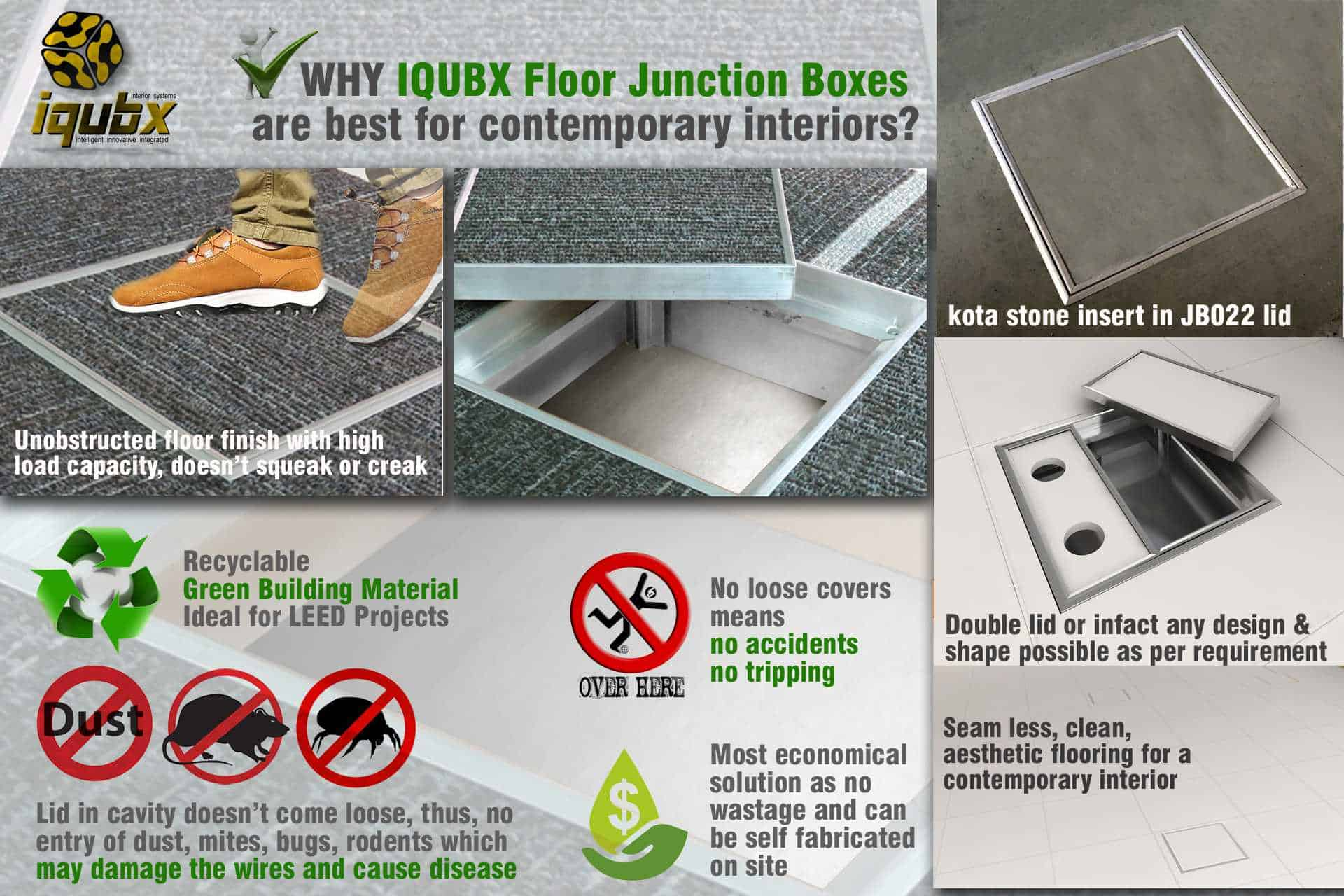 advantages of IQUBX Floor Junction Boxes - lid cover doesnt come loose preventing rodent and dust entry, can be made double lid, has seamless floor finish, high load bearing capacity