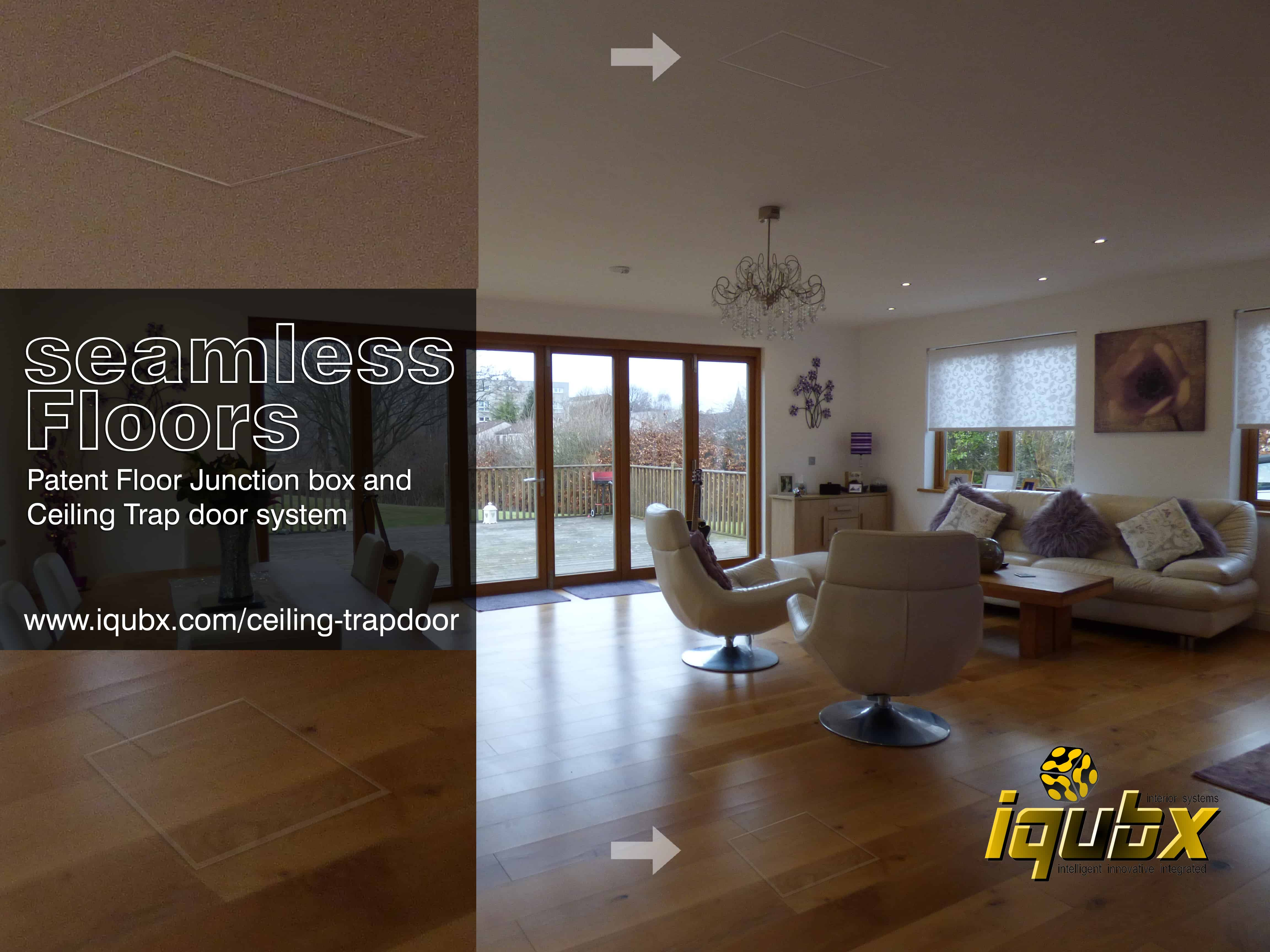 IQUBX ceiling trapdoor and floor junction box add uniform detailing to the interiors