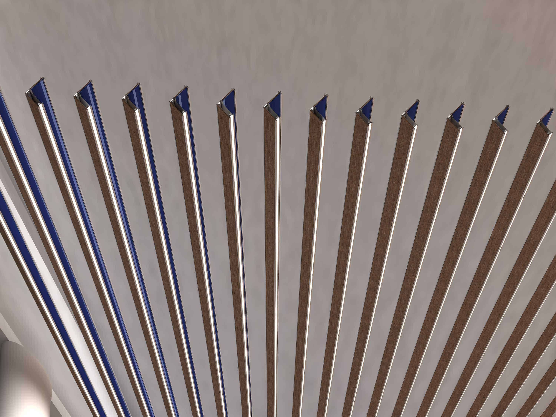 iqubx baffle with wood, blue glass and edgelit acrylic