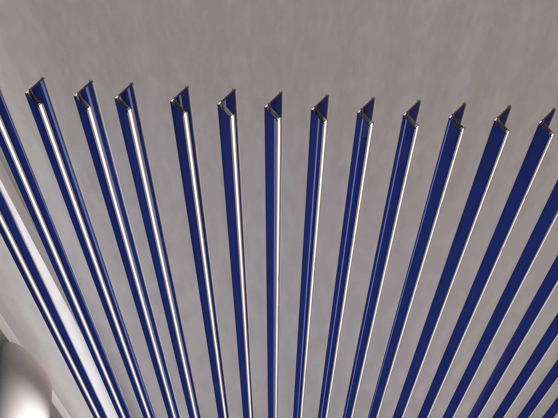 iqubx baffle with wood, blue glass and edgelit acryclic 2