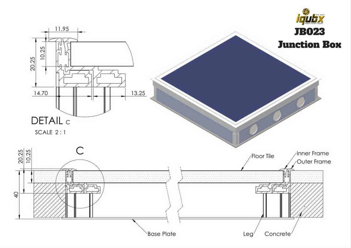 Floor Junction Box Iqubx Patent Aluminium Under Floor