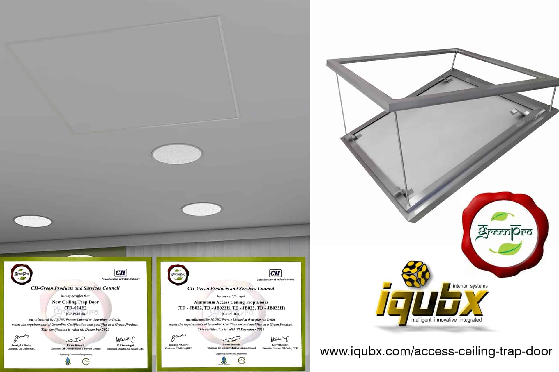 IQUBX ceiling trap door with Greenpro certification