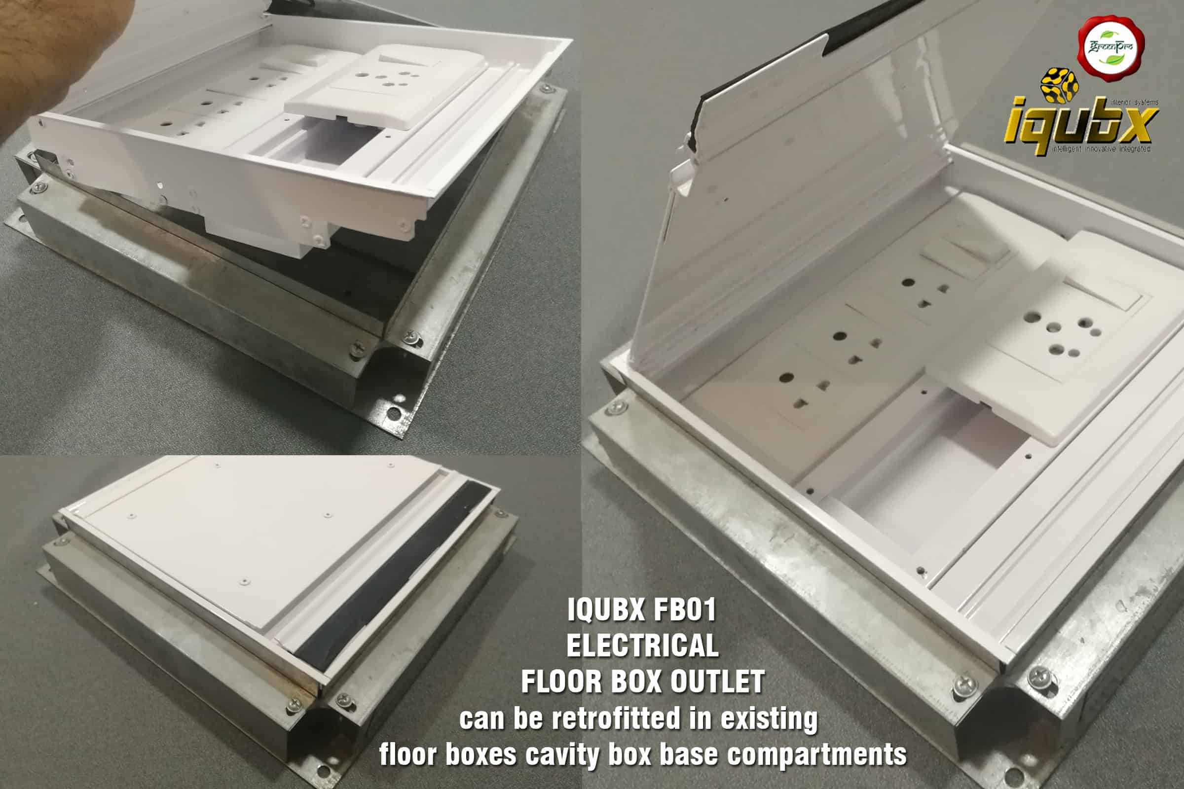 iqubx FB01 electrical floor box outlet RETROFITTING