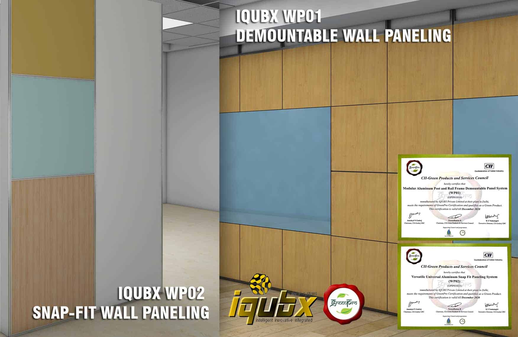 iqubx demountable and snapfit wall paneling